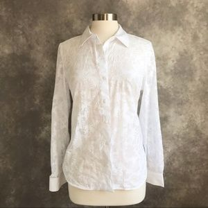 NEW Tommy Hilfiger White Floral Sheer Button Down